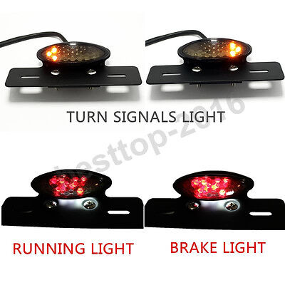 Motorcycle Integrated LED Turn Signal And Brake Tail Light Rear License Plate UK