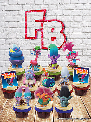 """Trolls"" Character Mix Edible Wafer Cake Toppers. Birthday Fun Kids"