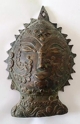 Mask Cambodian Heavy Metal Statue Figure Carved Sculpture Copper Idol Face #35
