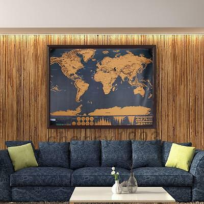 Scratch Carte Du Monde À Gratter Enseignement Atlas Décoration Mur 82 x 59 CM