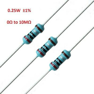 100PCS 1/4W Metal Film Resistor 0.25W ±1%- Full Range of Values (0Ω to 10MΩ)