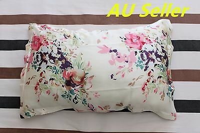 100% Mulberry Pure Silk Pillowcase cover 25 momme pillow case Cream Floral Skin
