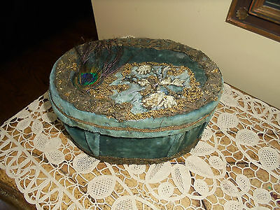Antique/Vintage French Velvet Confectioners~ Sewing or Storage Box