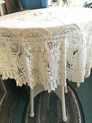 "Antique Lace Battenburg Round Tape Lace Tablecloth Victorian 60"" Round"