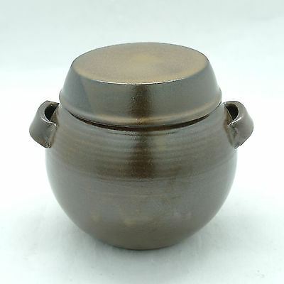 Pottery for food storage red clay sauce pot with two handles