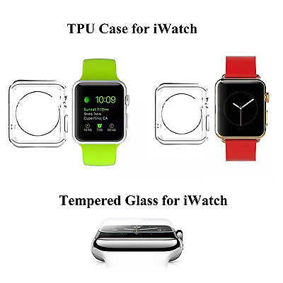 Tempered Glass Screen Protector+ TPU Case Cover for Apple watch iWatch 38mm&42mm