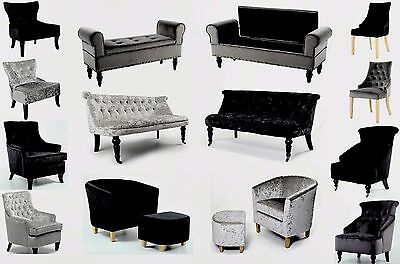 High Quality Chairs, Sofas and Chaises in our Authentic Crushed Velvet Range