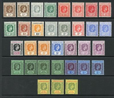 Leeward Islands 1938-51 to 5s inc. all perfs and shades SG95/112c MM cat £558