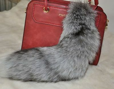 Large Silver Fox Tail Real Fox Fur Tail Keychain Fur Tassel Handbag 40cm/16inch