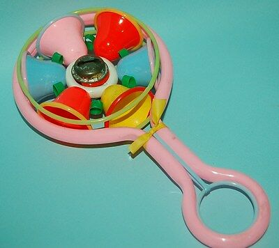 1960 VINTAGE CELLULOID and PLASTIC RATTLE BABY TOY NURSERY