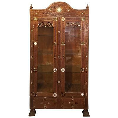 Antique Syrian Cabinet with Mother of Pearl, Mid-19th Century
