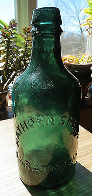 Old Hawthorn Spring Mineral Water Emerald Green Bottle - Saratoga Ny
