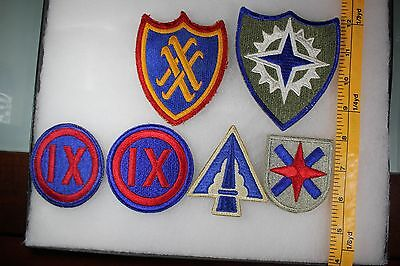 US WW2 Army Cut Edge Corps & Service Command 9 20 14 22 16  6 Patch Lot. OA097