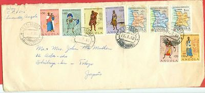 Portugal Colony Angola 9 diff stamp used on 1960 cover to Japan