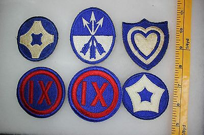 US WW2 Army Cut Edge Corps & Service Command 9 23 24 5 4  6 Patch Lot. OA099