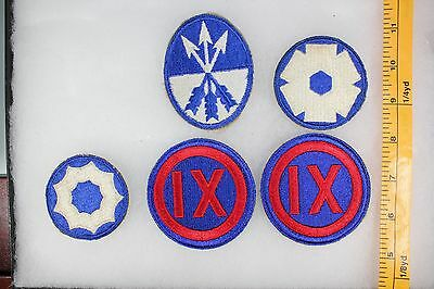 US WW2 Army Cut Edge Corps & Service Command 9 23 9 6  5 Patch Lot. OA100