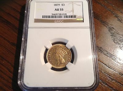 1879 $3 Gold Coin ( NGC AU55 ) Low Mintage