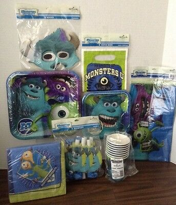 Monsters Inc Monsters University Party Set Plates, Napkins, Favors, Tablecover