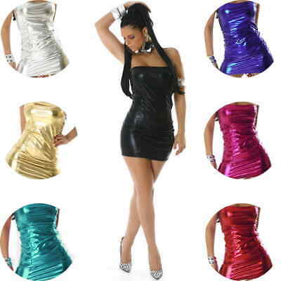 Damen Bandeaukleid Wetlook GoGo Mini Metallic Glanz Swinger Club sexy 34 36 XS S