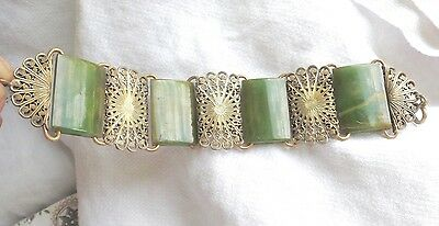 EXTREMELY RARE OLD RECTANGULAR SPINACH BAKELITE and FILIGREE STATION BRACELET