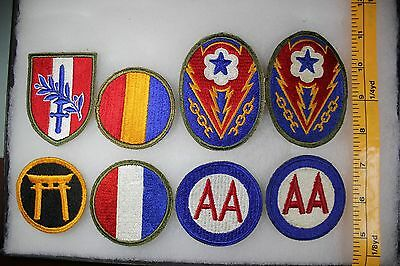US WW2 Army Cut Edge Mis AA ETO AGF Japan Austria Replacement 8 Patch Lot. OA114