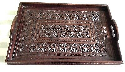 Highly Carved Wooden Tray. Tableware. Serving Tray. Crafts. Hand Crafted.Treen