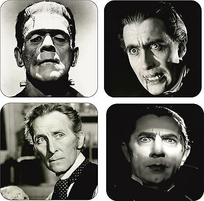 Classic Movie Horror Icons Wooden Black & White Coaster Set