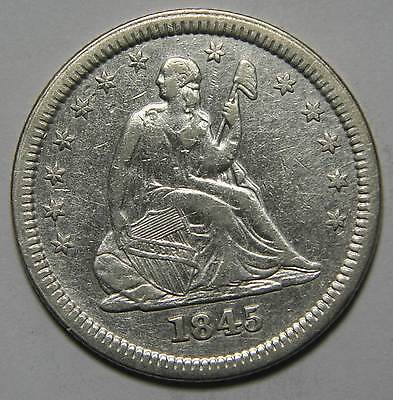 1845 Seated Liberty Silver Quarter Coin Lot# MZ 4329