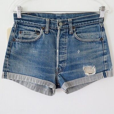 Vintage Original Levis 501 Big E Jeans Cut Off Short Denim Redline Selvedge W28