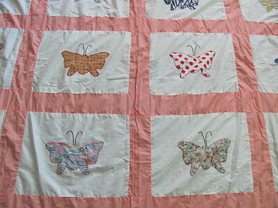 Vintage cotton Butterfly quilt top apricot sashing from 1950's era hand applique