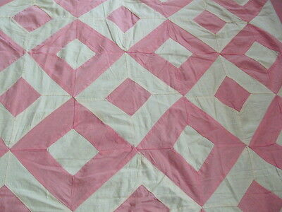 Vintage Double Diamond pink and cream cotton quilt top entirely hand stitched