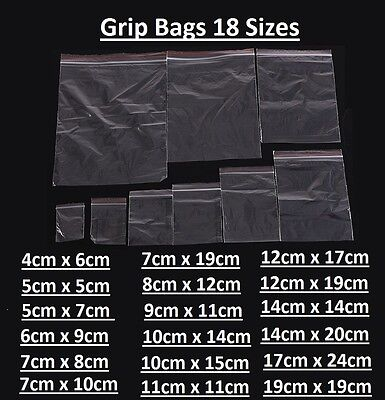 Small Clear Poly Grip Self Seal Resealable Zip Lock Mini Bags Jewellery All Size