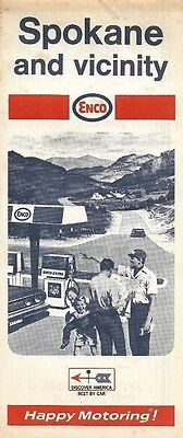 1969 ENCO HUMBLE OIL Road Map SPOKANE Washington Medical Lake Coeur d'Alene