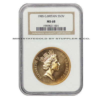 1985 Gold Great Britain 5 Sov Pound NGC MS68 UK uncirculated Elizabeth II coin
