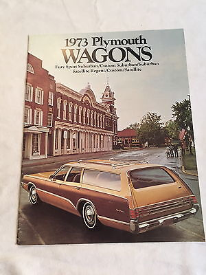 Vintage 1973 Plymouth Wagons Car Auto Sales Dealer Brochure