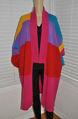 Vtg 80s COCOON Chunky Knit COLORBLOCK Oversized Cardigan Sweater Coat Jumper OS