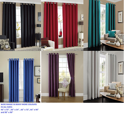 Luxury Thermal Blackout Pair Curtains Ring Top Fully Lined,Ready Made Eyelet