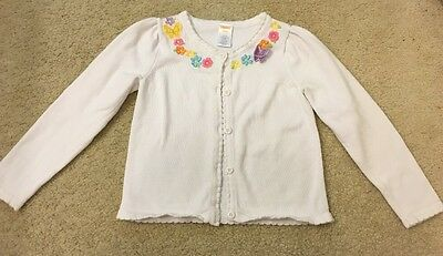 Gymboree Girl 5-6 BUTTERFLY BLOSSOMS White Floral Long Sleeve Cardigan Sweater