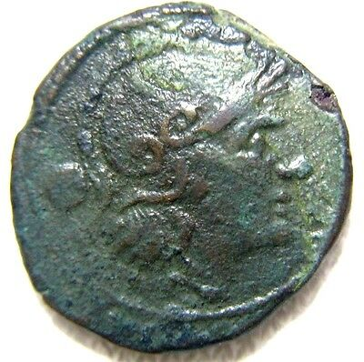 Roman Republic Anonymous Uncia Roma / Prow Of Galley 215-212 Bc 22 Mm Authentic