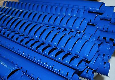 """Lot of 10 BLUE 1-1/4"""" BINDING COMBS 19 Ring Plastic Book Spines OVAL 265 Sheet"""