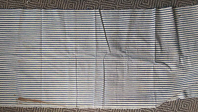 "Antique early French ticking fabric/denim* navy/cream*found condition* 55"" x 17"""