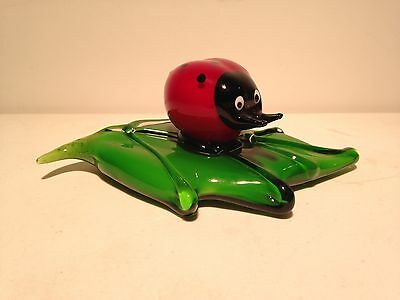 Murano Style Art Glass Cautious Red Ladybug on Green Leaf Pad