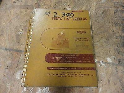 Cincinnati Vercipower Milling Machine Parts Manual original