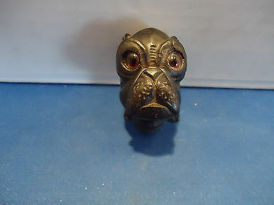 Carved wood bulldog bull dog figure head vtg glass eyes