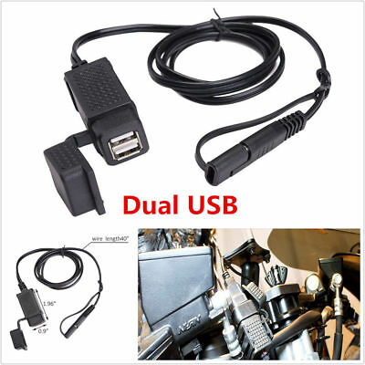 12V Motorcycle 2.1A Dual Port SAE to USB Cable Adaptor Charger Socket Waterproof