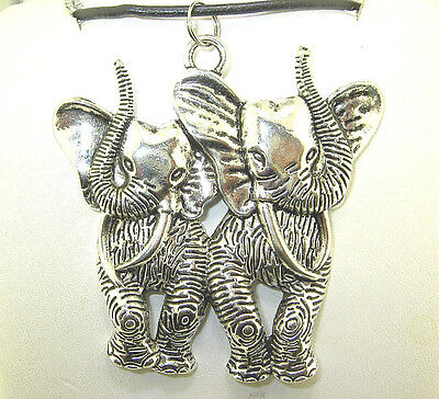 """New Very Large Beautiful 3-D two ELEPHANT Silver-tone Pendant 18"""" - 20"""" Necklace"""