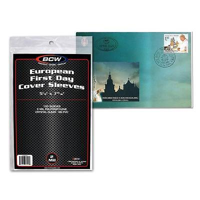 Pack of 100 Sleeves BCW European First Day Cover Sleeves  5 1/8 x 7 13/16(#CS21)