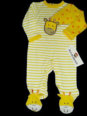 Buster Brown Footed Yellow & White One Piece Giraffe Sleeper Coverall NWT