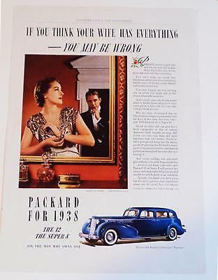 1937 Packard for 1938 The 12 Sedan & Super 8 Photo Ad Fashion Maboussin Jewels