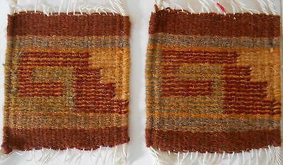 "2 Zapotec Indian 100% WOOL Rugs & Coaster 5"" x 5"" hand made 2000 yr old heritage"